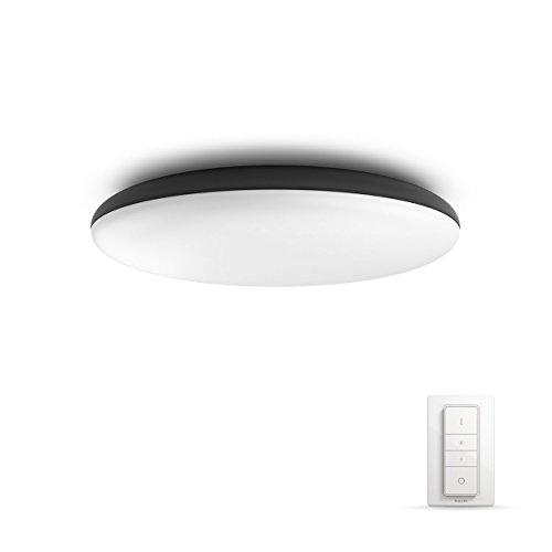 Philips Hue Cher Led-plafondlamp, incl. dimschakelaar, dimbaar, alle witschakeringen, bestuurbaar via app, zwart, compatibel met Amazon Alexa (Echo, Echo Dot)