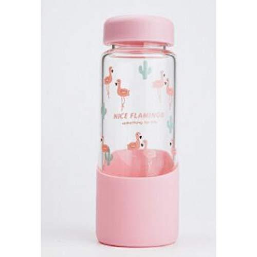 Erjialiu Flamingo Water Fles 500 Ml Ortable duidelijk citroensap Infuser glazen flessen voor sport outdoor fles