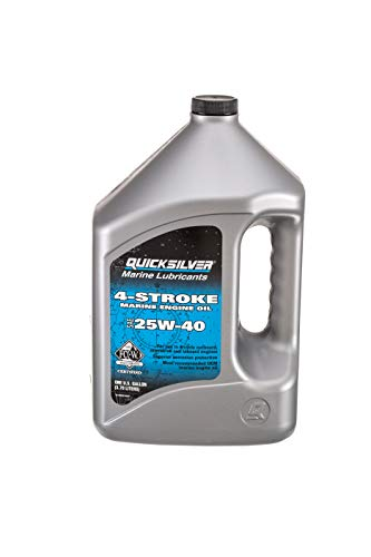 Quicksilver 8M0078620 4-Stroke Marine Engine Oil – for Outboard, Sterndrive & Inboard Engines – SAE 25W-40 Mineral – 1 Gallon