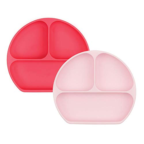 Bumkins Silicone Grip Dish, Suction Plate, Divided Plate, Baby Toddler Plate, BPA Free, Microwave Dishwasher Safe - 2pk Red/Pink