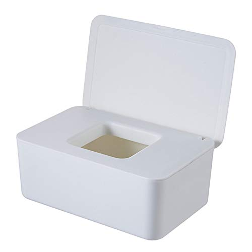 PPuujia Caja de pañuelos húmeda para bebés con sello de escritorio para bebés, caja de almacenamiento de papel, dispensador de tapa (color blanco)