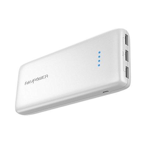 RAVPOWER Power Bank 22000mAh 5.8A 3 Puertos Li-Polímero Batería Externa, Panasonic Inteligente IC, UL94 V-0 PC Resistente al Fuego/ABS de la aleación, para Smartphone Tablet PC (Blanco)