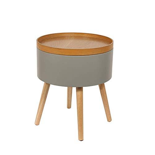 THE HOME DECO FACTORY CMHD6295 Table D'Appoint Coffre Rond Gris, Bois-MDF, 38 x 49 x 38 cm