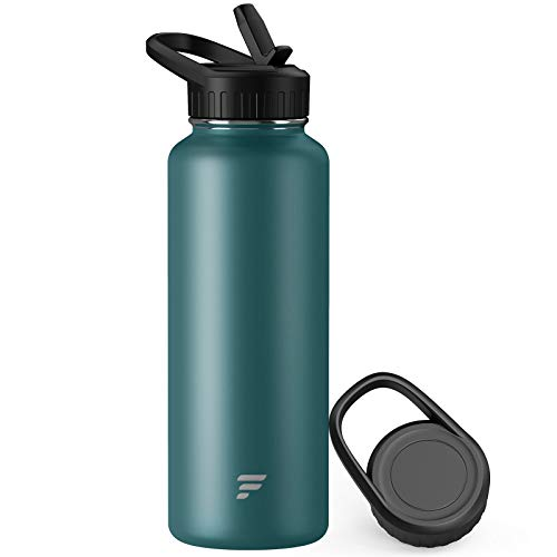 Letsfit Insulated Water Bottle with Wide Mouth Straw Lid & Handle Lid, Vacuum Stainless Steel Flask Multiple Sizes and Colors, Deep Green, 24oz