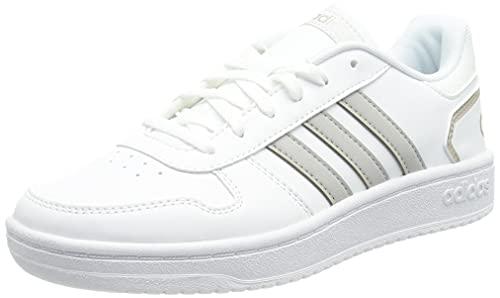 adidas Hoops 2.0, Scarpe da Basket Donna, Ftwr White/Grey Two/Champagne Met, 37 1/3 EU