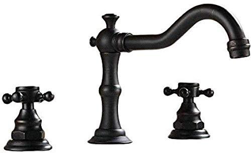 Faucet faucet grifo monomando negro para lavabo grifo de dos orificios con grifo doble, ampliamente utilizado en grifo de lavabo de baño de bronce engrasado