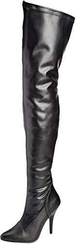 Pleaser Damen SEDUCE-3000 Langschaft Stiefel, Schwarz (Blk STR pu), 46 EU(16 US)
