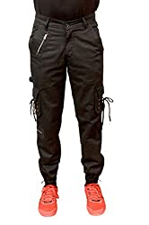 Meoby Mens Dori Style Black Cotton Relaxed Fit Zipper Cargo Pants