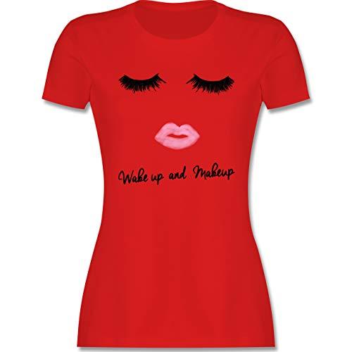 Typisch Frauen - Wake up and Make Up - M - Rot - t Shirt Make up - L191 - Tailliertes Tshirt für Damen und Frauen T-Shirt