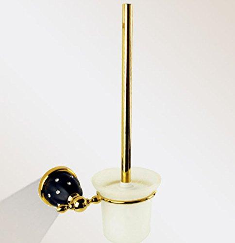 LD&P Salle de bains mural en acier inoxydable couleur or ronde design porte-balai de toilette brosse blanche tête simple accessoire de nettoyage
