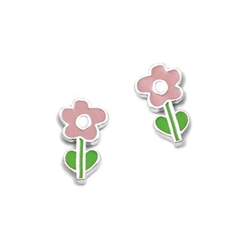 Pendientes plata Ley 925m Agatha Ruiz de la prada 10mm. colección Green flor rosa esmaltada