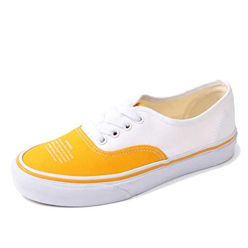 Zapatos Planos de Lona para Mujer de Color Mixto cómodos y Casuales con Cordones Transpirables para Estudiantes Zapatillas Bajas Zapatillas de Deporte Ligeras y Acolchadas para Exteriores