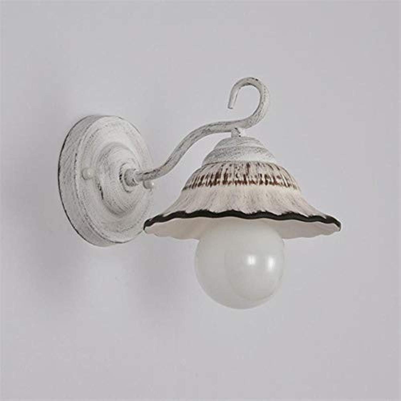 Vintage amerikanische minimalistische keramische geführte Wandlampen nordische kreative weie E27 Wandleuchten für Balkonschlafzimmergang Reataurant, als Foto