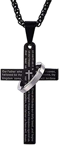 WYDSFWL Collar Christian Jesus Collar Titanio Escritura Escritura Cruz Collar Acero Inoxidable Negro Oración Gargantilla Cruz Colgante Collar Colgante para Mujeres Hombres Regalos