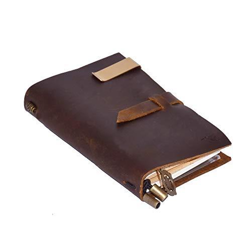 Nachfüllbares Leder-Tagebuch von Nomalite | A6 Leder notizbuch, Einband aus Echtleder (Braun), ideal als Reisetagebuch, nachfüllbar (inkl. 3 Einlagen zum Austauschen) zum Schreiben & Zeichne (17x11cm)