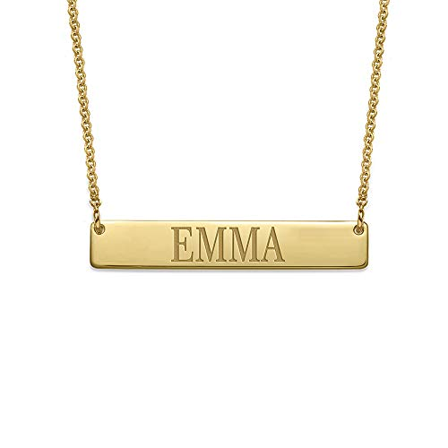 MyNameNecklace Personalized Bar Necklace Engraved Name Necklace-18K Gold Plating Emma