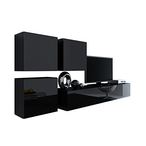 Wohnwand Vigo XXIII, Design Mediawand, Modernes Wohnzimmer Set, Anbauwand, Hängeschrank TV Lowboard, (Schwarz/Schwarz Hochglanz)