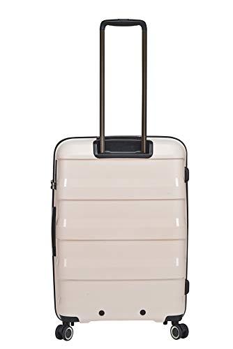 STRATICStraw Hartschalen-Koffer Trolley RollkofferReisekoffer leicht 4 RollenTSA-Zahlenschloss, aus Bio-Kunststoff, Größe M, Beige