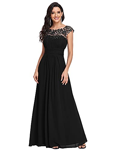 abito donna 52 Ever-Pretty Vestiti da Sera e Cerimonia Donna Linea ad A Elegante Stile Impero Chiffon Abiti da Damigella d'Onore Nero 52