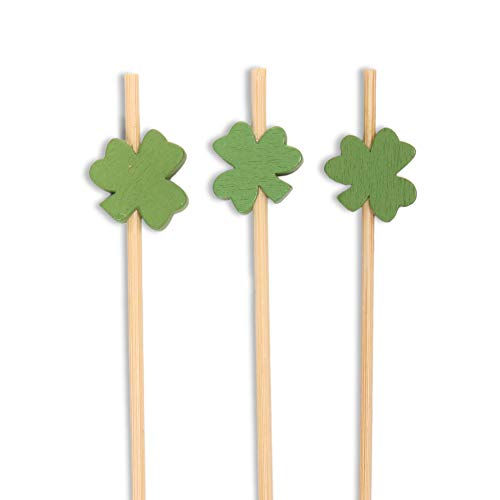 BambooMN 3.9 Inch Decorative Green Clover Bamboo Cocktail Sandwich Fruit Swizzle Picks, Luck of The Irish Party Supplies, 100 Pieces