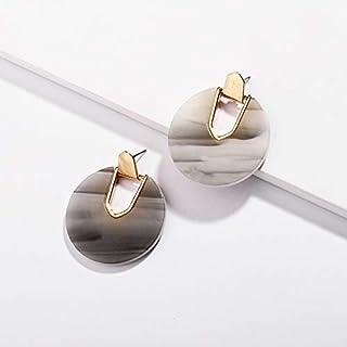Earrings Colorful Resin Acrylic Round Dangle Earrings for Women(Colorful) Earrings (Color : Grey)