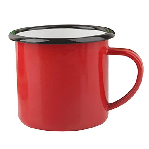 DOITOOL Tazza 1pc Rosso Smalto Tazza Classico Retro Grande Capacità Bere Tazza Latte Caffè Tazza Per Casa Ufficio