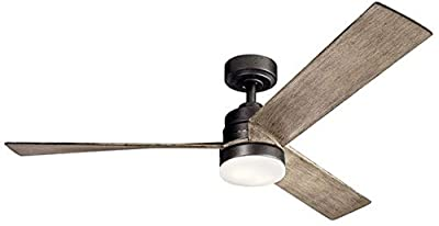 """Kichler 300275AVI Spyn 52"""" Ceiling Fan with LED Lights and Wall Control, Anvil Iron"""