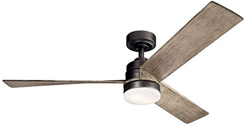 "Kichler 300275AVI Spyn 52"" Ceiling Fan with LED Lights and Wall Control, Anvil Iron"