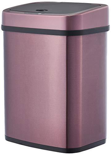 Amazon Basics - Cubo de basura automático de acero inoxidable, rectangular, 12 litros