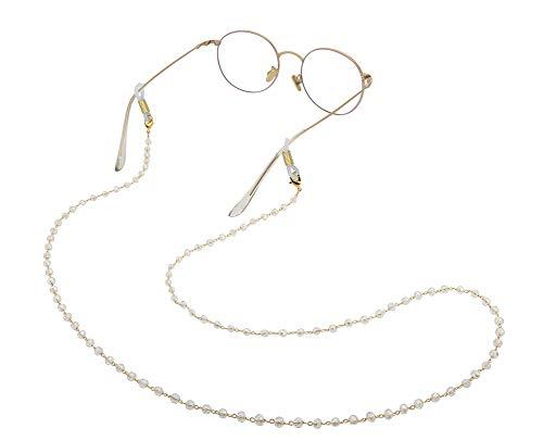 Amaxer Cadena para gafas de mujer con cuentas blancas y correa de cristal delicadas (oro, cuentas transparentes)