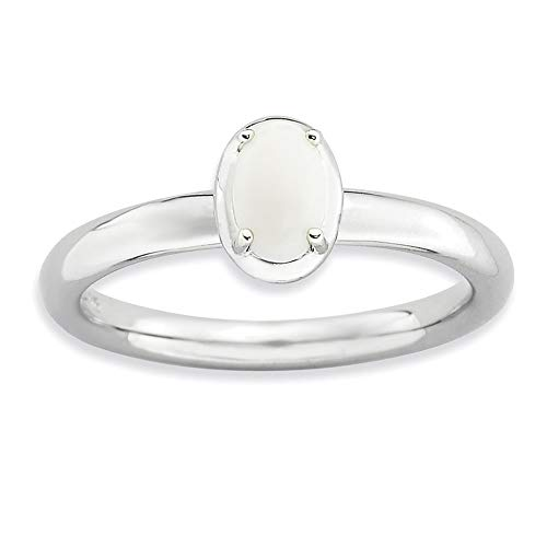 925 Sterling Silver White Agate Band Ring Size 8.00 Stone Stackable Gemstone Natural Fine Jewellery For Women Gifts For Her