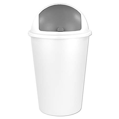 TW24 Abfalleimer 50L mit Farbauswahl - Kosmetikeimer - Mülleimer - Badezimmereimer - Abfallbehälter (Weiß)