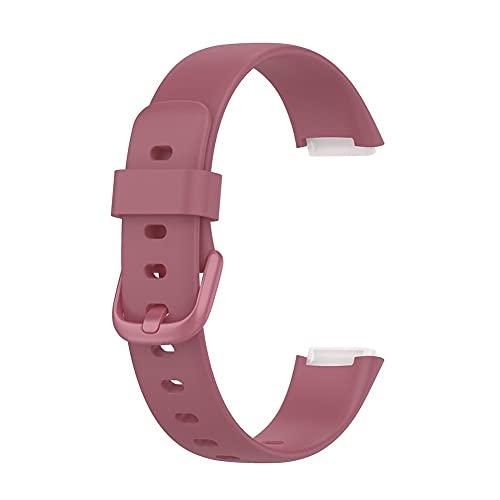 Correa de reloj de silicona de 10 colores de liberación rápida de goma suave, compatible con reloj Fitbit Luxe, rosa, Large,