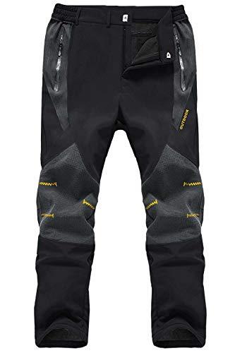 MAGCOMSEN Winter Pants for Men Fleece Lined Pants Ski Pants Hiking Pants Waterproof Pants for Men Black