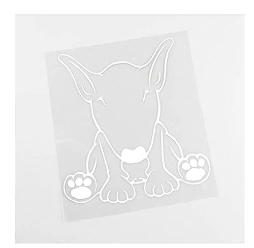 MDGCYDR Adesivo per Auto Cane 13.2Cmx14.2Cm Adesivo per Auto Bull Terrier Cane Decalcomania in Vinile Impermeabile Nero/Argento