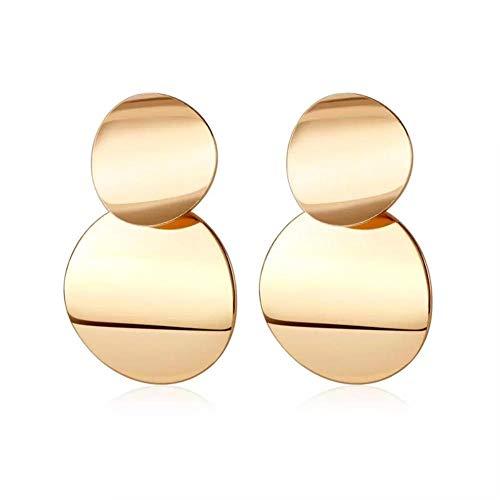 Yhhzw Pendientes Colgantes De Oro Mate Para Mujer Pendientes Colgantes Redondos De Metal Llamativos Joyas