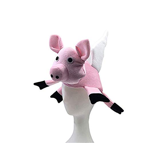 YBBDHD Sombrero De Cerdo Volador con Alas De Aleteo Sombrero De Animal De Granja Sombrero De Fiesta De Cumpleaños De Halloween Accesorios De Disfraces De Cosplay Diseño De Cerdo 3D Sombreros