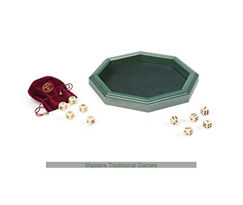 Dal Negro Luxury Octagonal Wooden Dice Tray (Green, with dice)