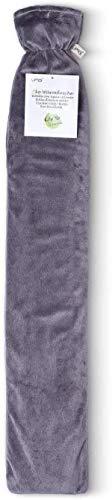 Premium Schlauch-Wärmflasche 2 Liter für Schulter und Nacken mit hochwertigem Supersoft Korean Fleece Bezug extra gefüttert 77cm x13cm BS1970:2012 zertifiziert - neues Modell - TÜV getestet (Grau)