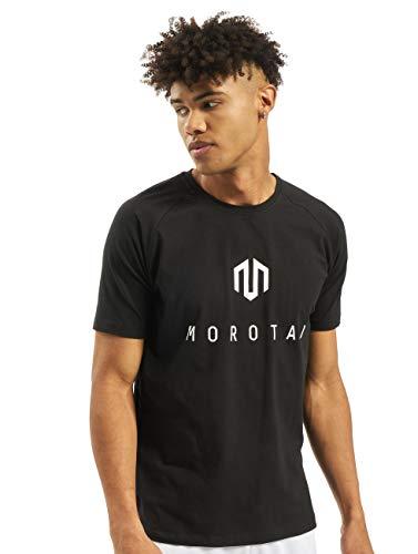 MOROTAI Premium Brand Basic T-Shirt Herren - Sportshirt Training Funktionsshirt Kurzarm Fitness Trainingsshirt Männer Laufshirt Fitness Sport T Shirt - Baumwolle - Schwarz/Weiß - L