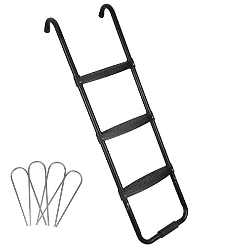 HLOFIZI Trampoline Ladder Universal for 14ft 15 ft, 3 Steps Trampoline Stairs for Kids, 45 Inch, with Wind Stakes