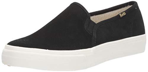 Keds Women's Double Decker Suede/Shearling Slip On Sneaker, Black, 10