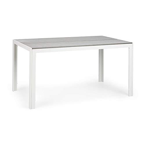 blumfeldt Bilbao Gartentisch - 150 x 90 cm Tischfläche, 6 Personen, Materialien: Polywood & Aluminium, Witterungsbeständig, Holzoptik, weiß/hellgrau