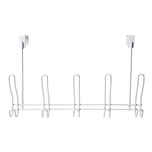 HJKK Over The Door Hook Hanger,5 Hooks/304 Stainless Steel Organizer Rack with No Hole Drilling Required to Securely Hold Your Clothes Coat Towel Holder Stainless Steel Storage-White