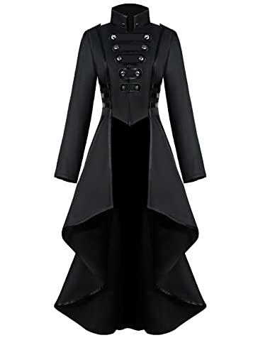 Vintage Steampunk Jacket Halloween Costumes for Women, Female Medieval Gothic Renaissance Clothes LadiesTailcoat Irregular Hem Outfits, Adult Retro Victorian Pirate Vampire Cosplay Uniform