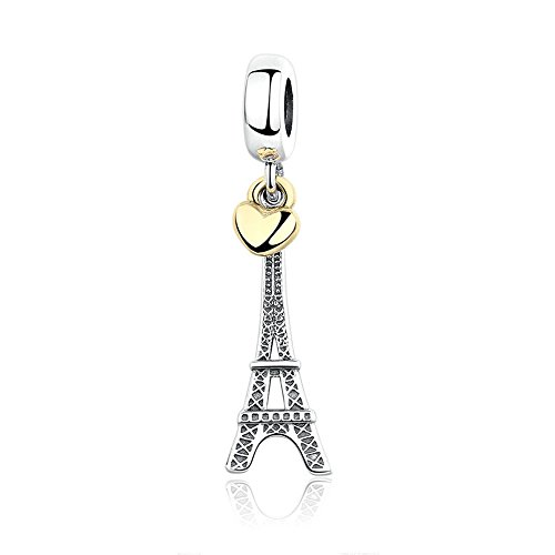 Love Effiel Tower Dangle Charm 925 Sterling Silver Charms for Bracelets and Necklaces, Happy Birthday Charms for Women Girls