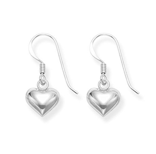 Sterling Silver Heart Earrings - SIZE: 8mm 6180. Gift boxed Double sided Heart Drop earrings. 6180
