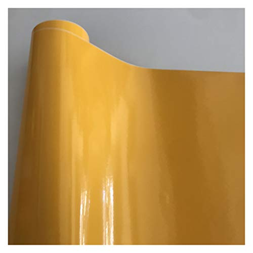 Carbon Folie 10/20/30/40/50 * 152cm Schwarz Glanzvinylfilm Glanz Glänzend Auto-Verpackungs-Folien-Aufkleber mit Luft-Blase Kostenloses Motorrad Car Wrapping Folie Auto (Color Name : Yellow)