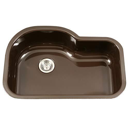 Houzer PCH-3700 ES Porcela Series Porcelain Enamel Steel Undermount Offset Single Bowl Kitchen Sink,...