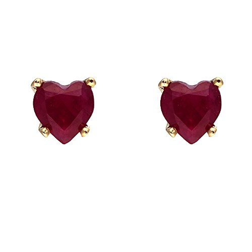 Ivy Gems 9ct Yellow Gold Ruby Heart Stud Earrings